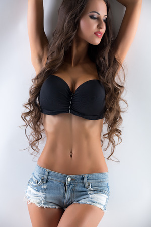 Image of beautiful slender model with big boobs