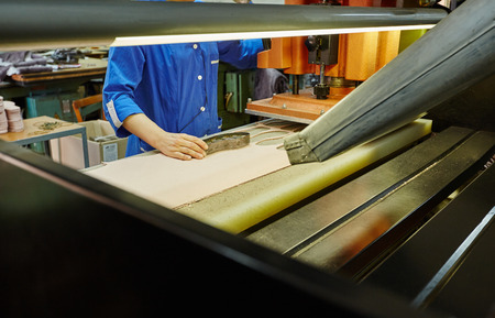 insoles: Image of manufacturing insoles for shoes using press and mold Stock Photo