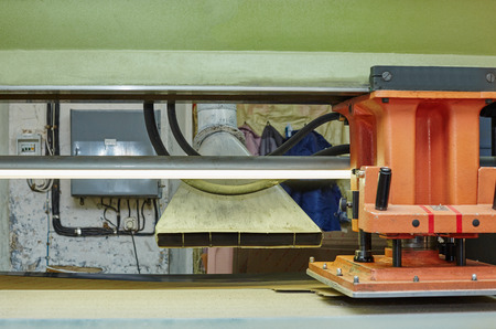moulded: Footwear production. Image of semiautomatic press for manufacturing insoles