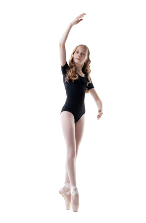 leotard: Diligent little ballet dancer, isolated on white