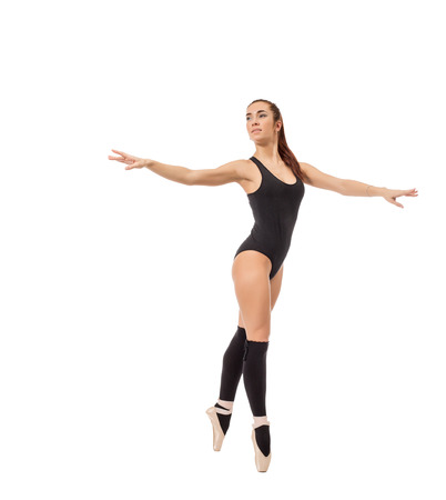 gaiters: Image of pretty contemporary ballet dancer, isolated on white