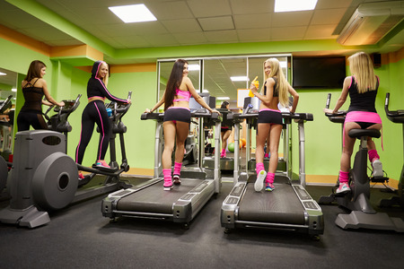 simulators: Gym. Group of pretty girls exercising on simulators Stock Photo