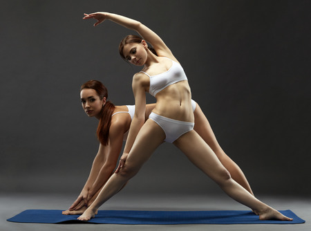 harmonous: Harmonous young women practicing yoga in pair, on gray background