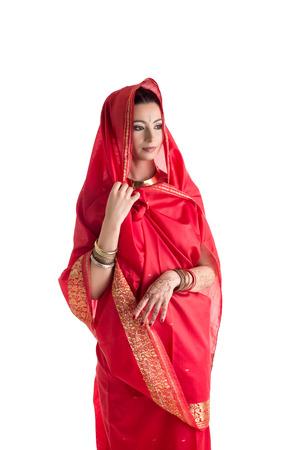 mehandi: Beautiful East woman in sari, isolated on white background