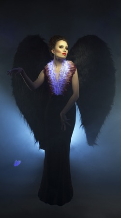 succubus: Studio photo of beautiful mystical succubus with wings Stock Photo