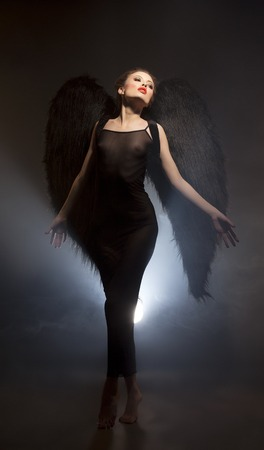 succubus: Mysticism. Studio shot of beautiful succubus with wings
