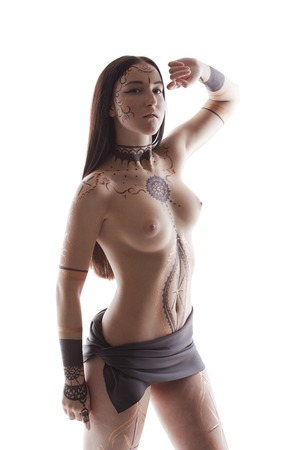 naked sexy women: Sexy brunette posing topless with henna patterns on her body Stock Photo