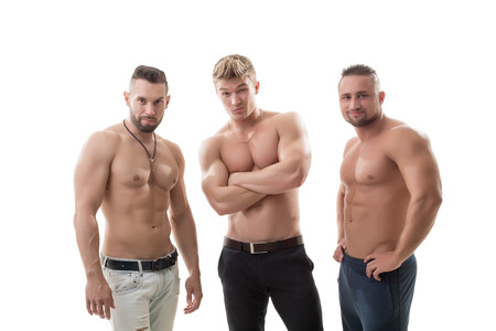 naked male body: Shot of flirting male models posing at camera, isolated on white