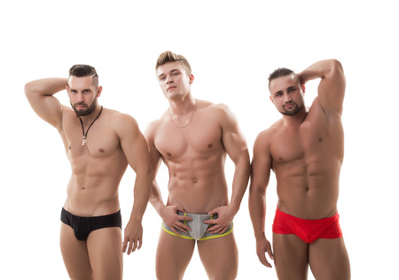 Sexy male models posing at camera, isolated on white Stock Photo