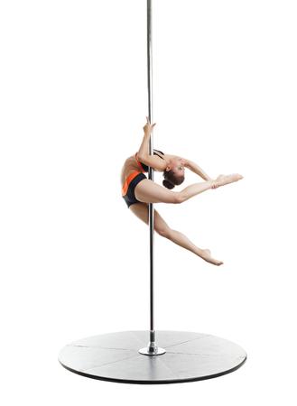 go go dancer: Image of sexy dancer spinning gracefully on pylon
