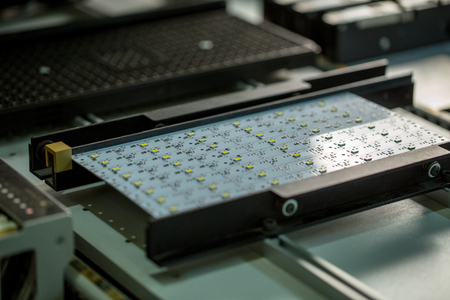 LED-licht de productie. Afbeelding van de printplaat, close-up Stockfoto