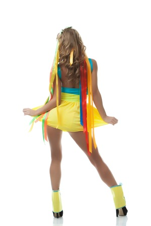 harmonous: Rear view of harmonous female dancer in Ukrainian costume