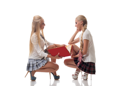 sexy school girl: Two lovely blond schoolgirls posing in studio, isolated on white