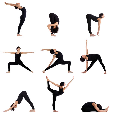 pilates: Collage of different yoga poses by pretty young woman Stock Photo