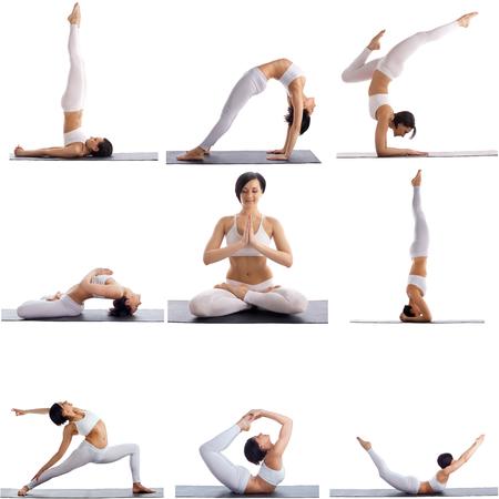 gimnasia aerobica: Conjunto de posturas de yoga por Mujer flexible, aislado en fondo blanco