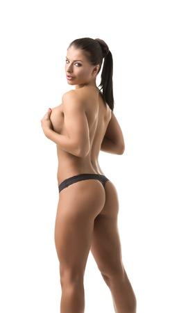 fille sexy nue: Female bodybuilder sexy montre son corps parfait à la caméra