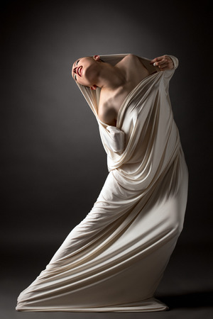 Concept. Image of beautiful naked girl breaks her cocoon Stok Fotoğraf
