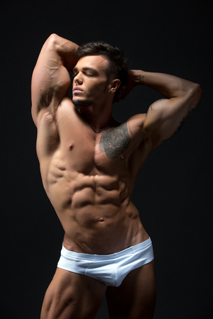 naked male body: Image of attractive young man with muscular fit body
