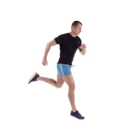 side view: Side view of athlete running in studio, isolated on white
