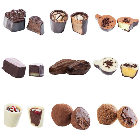 praline: Collection of chocolate candy with cream filling isolated