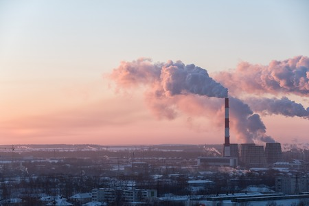 smog: Image of beautiful industrial cityscape during sunrise