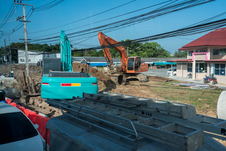 an excavation: Image of excavation works in city. Phuket, Thailand