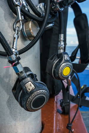 diving: Image of equipment for snorkeling, close-up Stock Photo