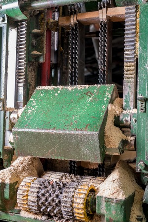 sawing: Sawmill. Image of sawing machine covered with sawdust