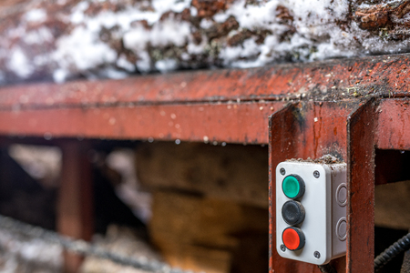 sawmill: Sawmill. Image of loader control buttons, close-up