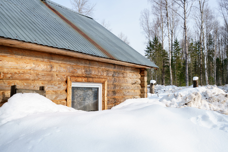 forester: Image of forester house covered with snow in forest