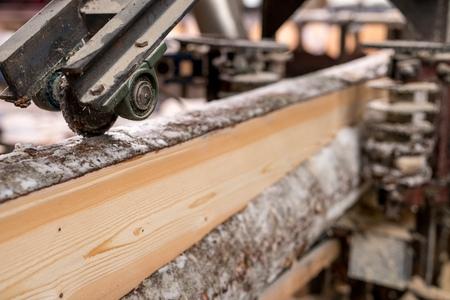 At sawmill. Image of cut wood using machine, close-up