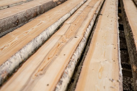 sawmill: At sawmill. Image of wooden boards lying in row, close-up Stock Photo