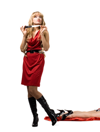 woman knife: Beauty woman with knife and dead leg isolated Stock Photo