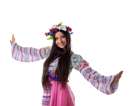 russian: Beauty young girl with garland in traditional russian costume Stock Photo