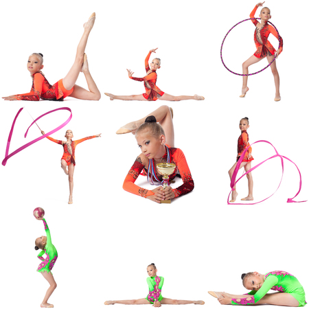Young champion in rhythmic gymnastics. Collage of many photos photo