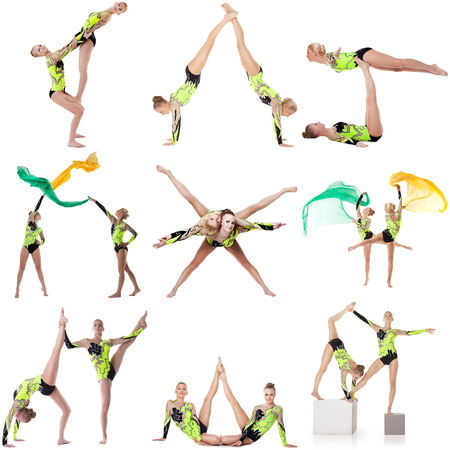 Beautiful acrobats in studio. Collage of many photos photo