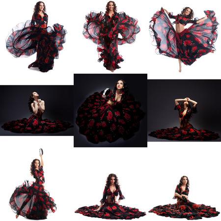 gypsy: Collage of beautiful brunette posing in gypsy dance