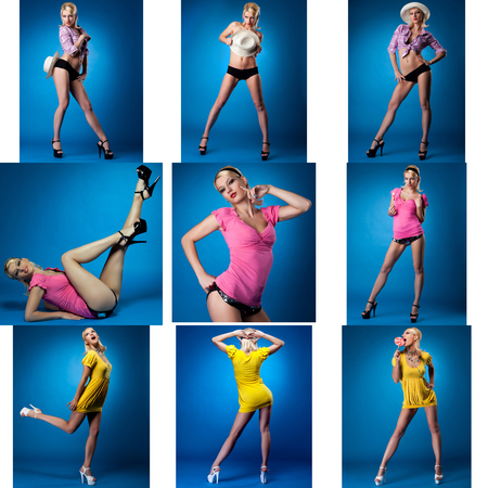 Collage of pretty pin-up girl posing in studio photo