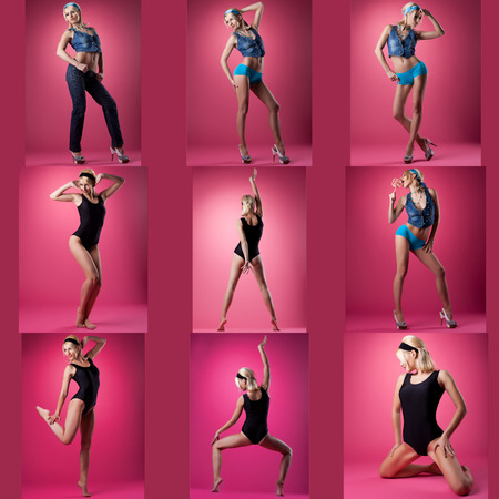 Collection of cute pin-up girl poses, on pink background photo