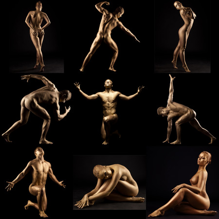 Collage of people with golden skin posing as living statues