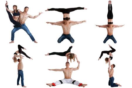acrobatics: Acrobacia. Colecci�n de la bella pareja posando a la c�mara