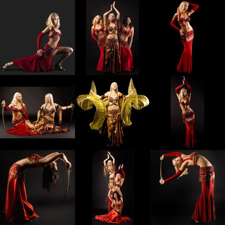 femme noire nue: Danse du ventre. Ensemble de belles femmes qui dansent avec des sabres