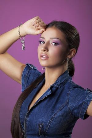 Studio portrait of young brunette woman rnb style photo