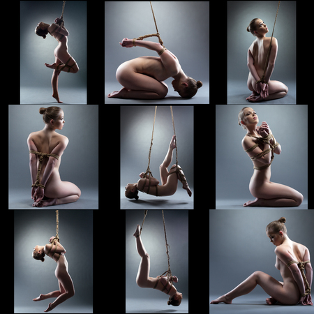 Shibari. Collage of naked girl tied with rope, on gray background
