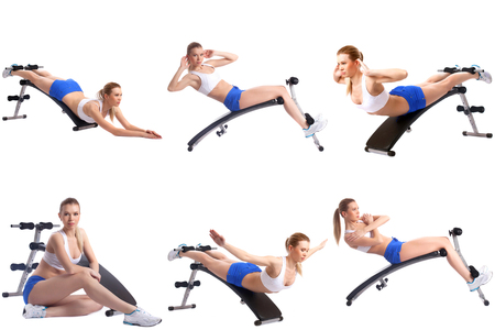simulator: Fitness. Collection of blonde girl exercising on simulator