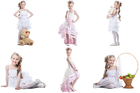 blonde females: Collage of charming little model posing in fancy dresses