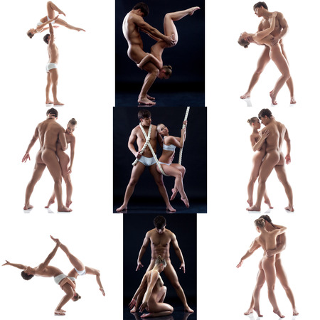 Nude. Photo collection of sensual acrobats posing in pair