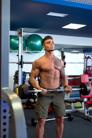 tattooed: At gym. Handsome tattooed guy training with barbell
