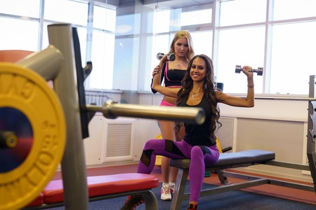 female muscle: Sport. Beautiful girlfriends training in fitness room Stock Photo