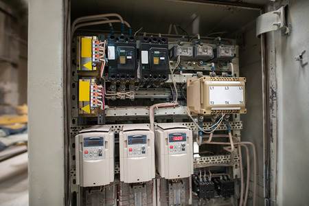 panel: Photo of electrical panel with fuses and contactors Stock Photo